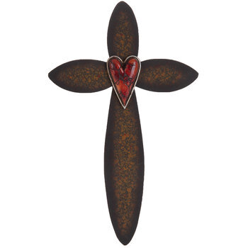 Red Heart Metal Wall Cross