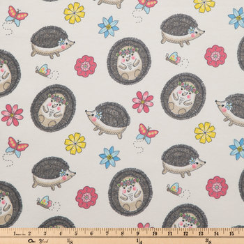 Floral Hedgehog Flannel Fabric
