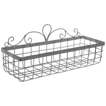 Gray Swirl Metal Wall Basket - Small