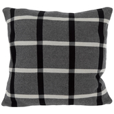 Black & White Open Plaid Knit Pillow Cover