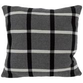 Black & White Open Plaid Knit Pillow Cover