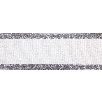 """Silver Glitter Striped Wired Edge Sheer Ribbon - 2 1/2"""""""