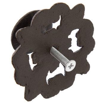 Brown Metal Knob On Flourish Base