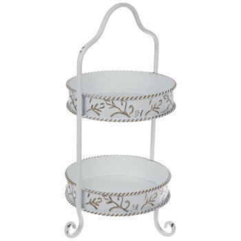 Antique White Scroll Two-Tiered Metal Tray