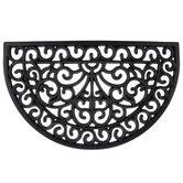 Black Half-Circle Scroll Doormat