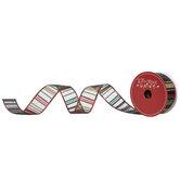 "Glitter Striped Wired Edge Sheer Ribbon - 1 1/2"""