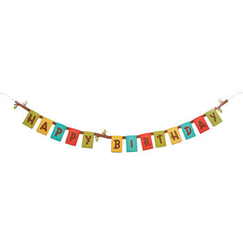 Woodland Happy Birthday Banner