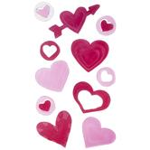 Pink & Red Heart Gel Window Clings