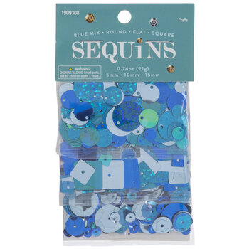 Blue Round, Flat & Square Sequins