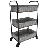 Three-Tiered Galvanized Metal Cart
