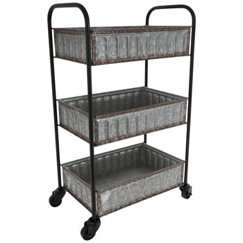Three-Tiered Galvanized Metal Cart