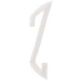 White Circular Monogram Iron-On Left Letter Z - 1 3/4""