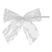 White Lace Twist Tie Bows