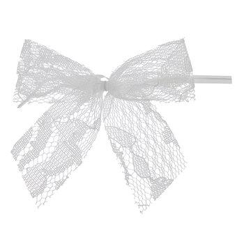 White Lace Twist Tie Bows