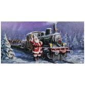 Santa & Train Canvas Wall Decor