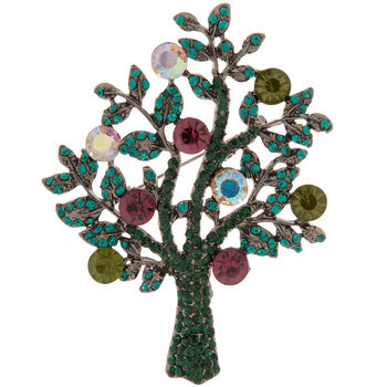 Tree Rhinestone Brooch