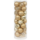 Gold Faceted & Glitter Ball Ornaments