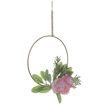 Blush Rose & Hydrangea Hoop Wreath