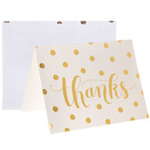 White & Gold Polka Dot Thanks Cards