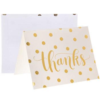 White & Gold Polka Dot Thanks Cards