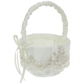 Ivory Embroidered Floral & Pearl Flower Basket