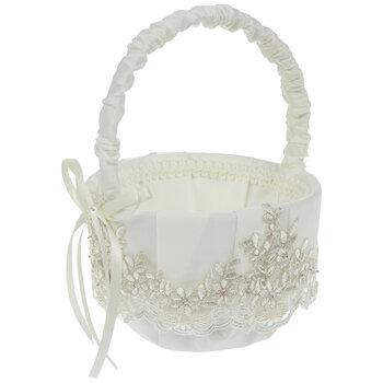 Embroidered Floral & Pearl Flower Basket