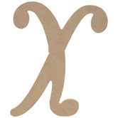 "Uppercase Script Wood Letter X - 6"""