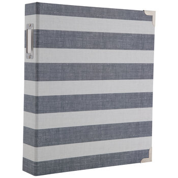 "Navy & White Striped 3-Ring Scrapbook Album - 8 1/2"" x 11"""
