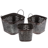 Dark Slotted Galvanized Metal Square Container Set