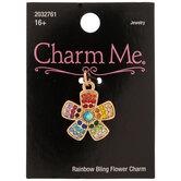 Multi-Color Rhinestone Flower Charm