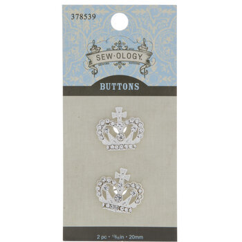 Crown Rhinestone Buttons - 20mm