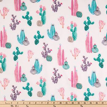Pink & Green Cactus Apparel Fabric