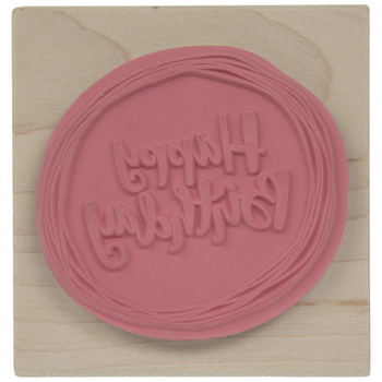 Circled Happy Birthday Rubber Stamp