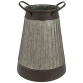 Ribbed Galvanized Metal Vase