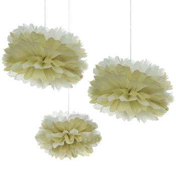 Kraft & White Tissue Pom Poms