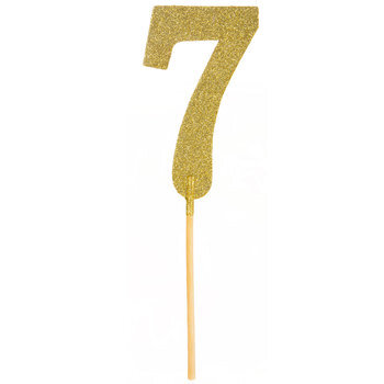 Gold Glitter Number Cake Topper - 7