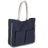 Navy Laminated Canvas Tote Bag With Pockets