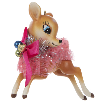Deer Ballerina With Pink Bow Ornament