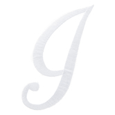 White Script Letter Iron-On Applique I - 3""