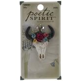 Bull Skull With Flowers Pendant
