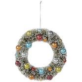 Flocked Sisal Ornaments Wreath