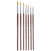 Gold Nylon Round Paint Brushes - 7 Piece Set