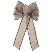 Fabric Bow With Black & White Plaid Trim