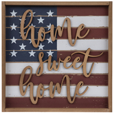 Dark Red Home Sweet Home Flag Wood Wall Decor