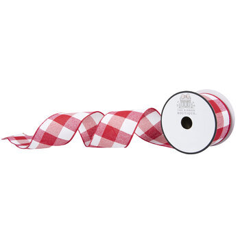 """Red & White Buffalo Check Wired Edge Ribbon - 2 1/2"""""""