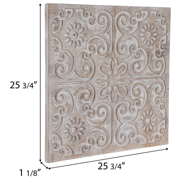 Whitewash Carved Floral Wood Wall Decor