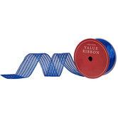 "Blue Glitter Striped Wired Edge Sheer Ribbon - 2 1/2"""
