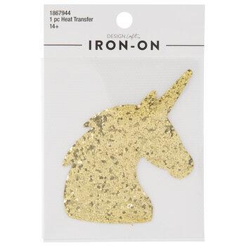 Gold Glitter Unicorn Iron-On Applique
