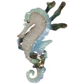 Tan & Blue Seahorse Metal Napkin Ring