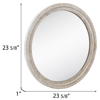 Whitewash Round Wood Wall Mirror - Large